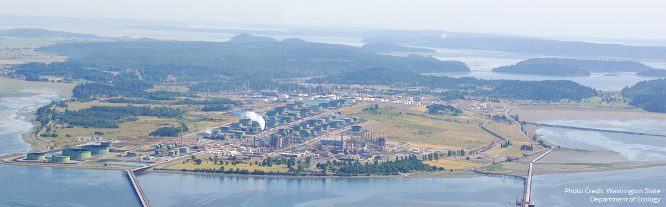 Aerial photo of Tesoro Anacortes Refinery project area